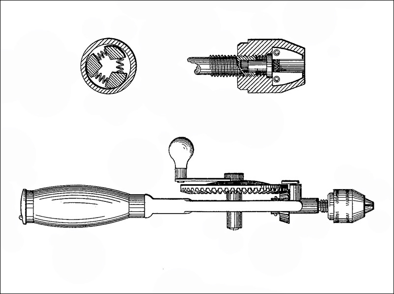 Hand Drill Drawing Lanfair 1895 Patent Hand Drill